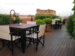 The rooftop terrace of Hotel 1898 at La Rambla, Barcelona.